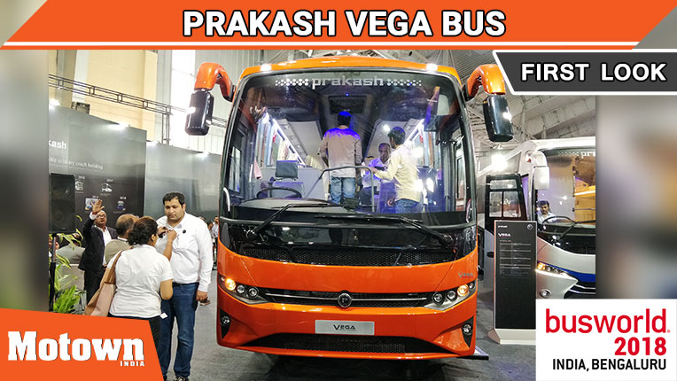 Prakash Vega bus displayed at BusWorld India 2018, SM Kannappa Automobiles Pvt Ltd displayed the Prakash Vega bus at BusWorld India 2018