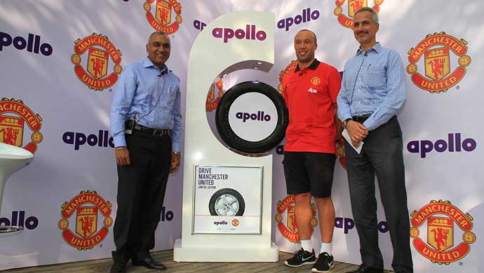 Mikael Silvestre, Former Man United and French International Defender with Marco Paracciani, Chief Marketing Officer and Satish Sharma, President Asia Pacific, Middle East and Africa, Apollo Tyres