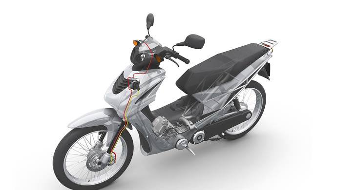 Bosch has developed a cost-efficient ABS system for motorized two-wheelers, in particular for emerging markets such as India and Indonesia