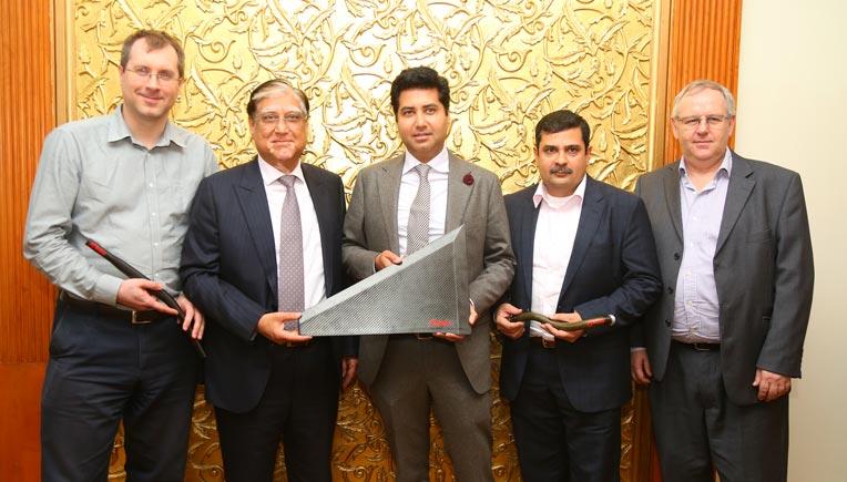 (L to R) - Dr. Rob Neumann (Director - Moldex Composites Pvt. Ltd.); Suman Kant Munjal (Chairman & MD - Rockman Industries Ltd.); Ujjwal Kant Munjal (Executive Director - Rockman Industries Ltd.)