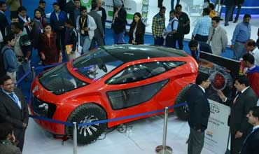 Sono Koyo Elfa car draws crowds at Auto Components show