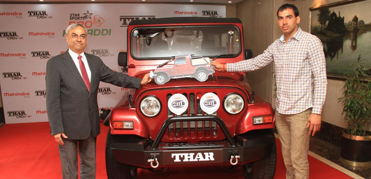 Anup Kumar receives  Mahindra Thar 4X4 off-roader