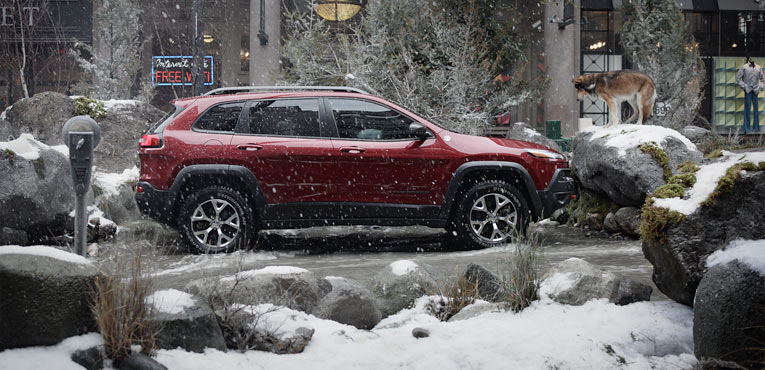 Jeep brand turns a street into forest with wild mountain river