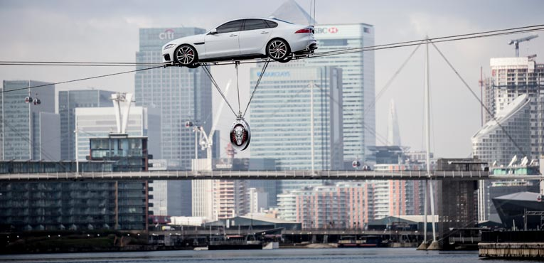 The all-new Jaguar XF does a high wire water crossing