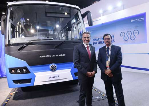 Ashok Leyland Circuit-S, an electric bus powered by Sun Mobility swappable battery