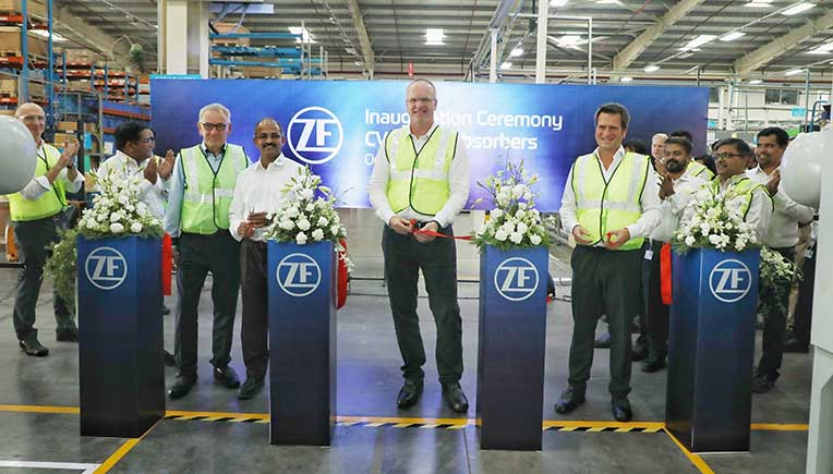 L-R Suresh KV, President ZF India, Thomas Flack, Chief Procurement Officer, Tata Motors, with  Fredrik Staedtler, Global Head of Commercial Vehicle Business, ZF Friedrichshafen AG