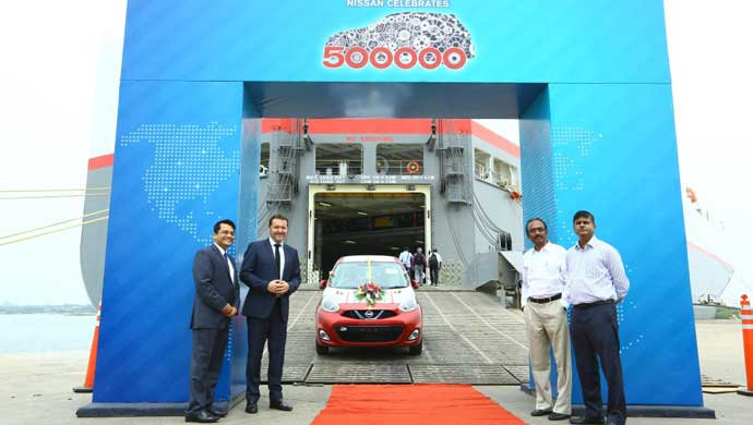 Nissan has exported the 500,000th car manufactured in India
