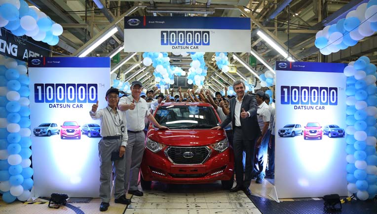 Senior Datsun officials at the Chennai plant