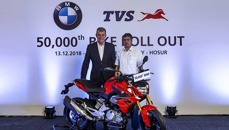 TVS Motor Company rolls out 50,000th unit of the BMW 310cc series motorcycle