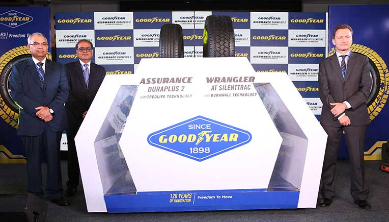 (L-R) -Rajeev Anand, Chairman and Managing Director, PK Walia, Vice-President, Consumer Business & Goodyear India and Kenneth Jenner Powell, Product Director – Goodyear Consumer Tires Asia Pacific
