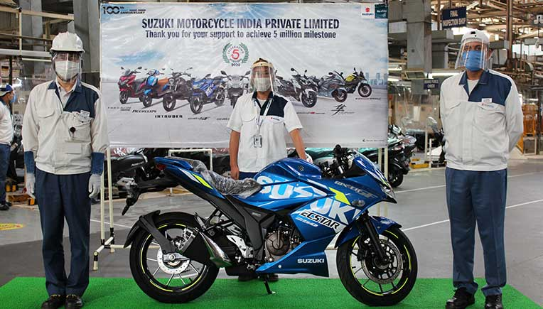 Suzuki Motorcycle India rolls out 5 millionth vehicle from Gurugram plant