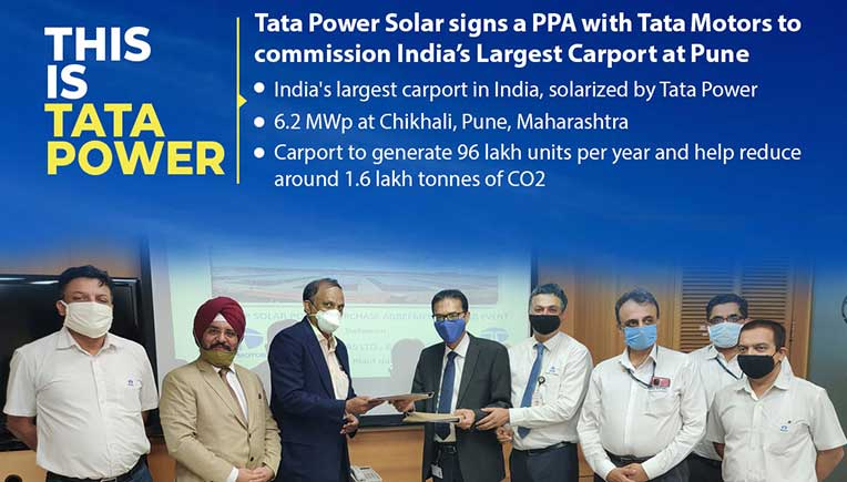 Tata Power, Tata Motors sign PPA to commission India's largest carport at Pune