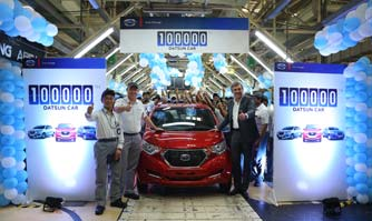 Datsun rolls out 100,000th car from Chennai facility in India