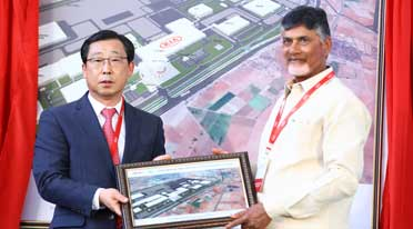 Kia installs framework for its first manufacturing facility in India