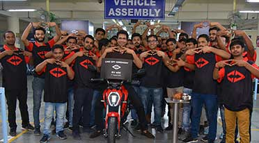 Revolt Intellicorp rolls out first RV 400 electric motorcycle from Manesar Plant