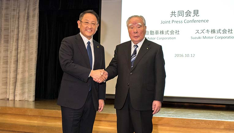 File Picture courtesy Toyota - (L to R) Toyota's President Akio Toyoda and Osamu Suzuki, Chairman of Suzuki Motor Corporation