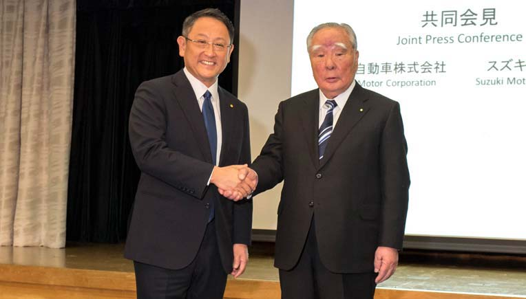 File photo of (L to R) Toyota President Akio Toyoda Suzuki and Suzuki Chairman Osamu Suzuki, Picture courtesy Toyota