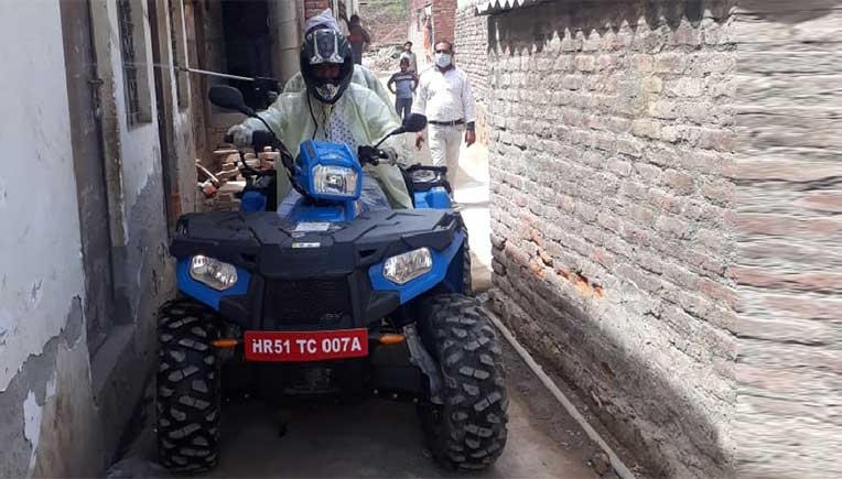 Polaris Sportsman 570 tractor gets into sanitisation mode in Haryana villages