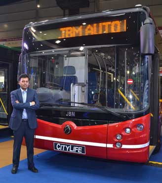Nishant Arya, Executive Director, JBM Group launching the Citylife Diesel Bus at Auto Expo 2016