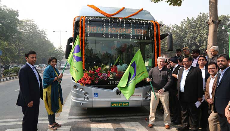 Flag off of the JBM Eco-Life electric bus