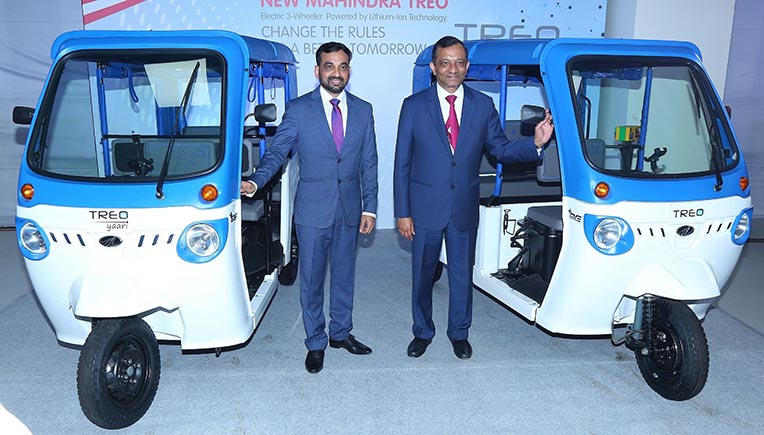 Mahesh Babu, CEO, Mahindra Electric and Dr. Pawan Goenka, Managing Director, Mahindra and Mahindra Ltd and Chairman, Mahindra Electric Mobility Ltd at the launch of electric 3 wheeler range Treo