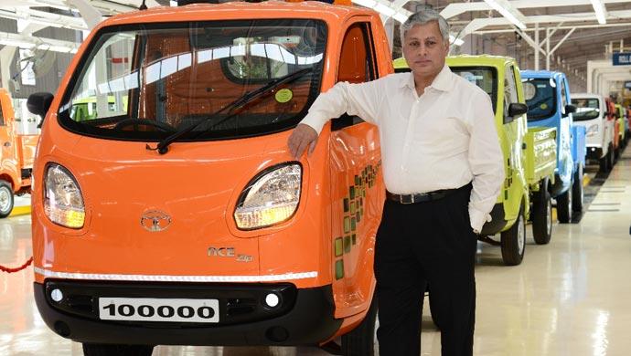 Ravi Pisharody, Executive Director, Commercial Vehicles, Tata Motors posing with the Tata Ace Zip