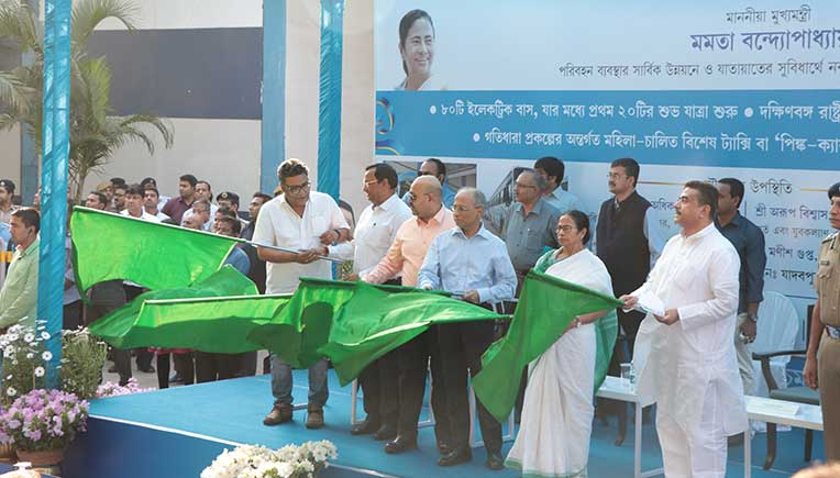 Chief Minister of West Bengal Mamata Banerjee flagged off the buses with dignitaries from WBTC and Tata Motors.