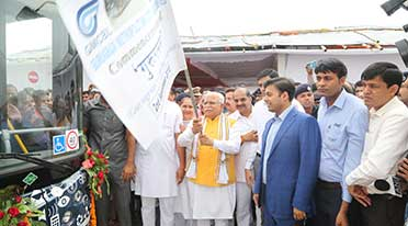 Gurugaman bus service begins with Haryana CM flagging off 25 JBM buses