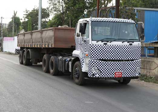 Volvo Eicher new heavy duty truck spotted testing on Indore roads