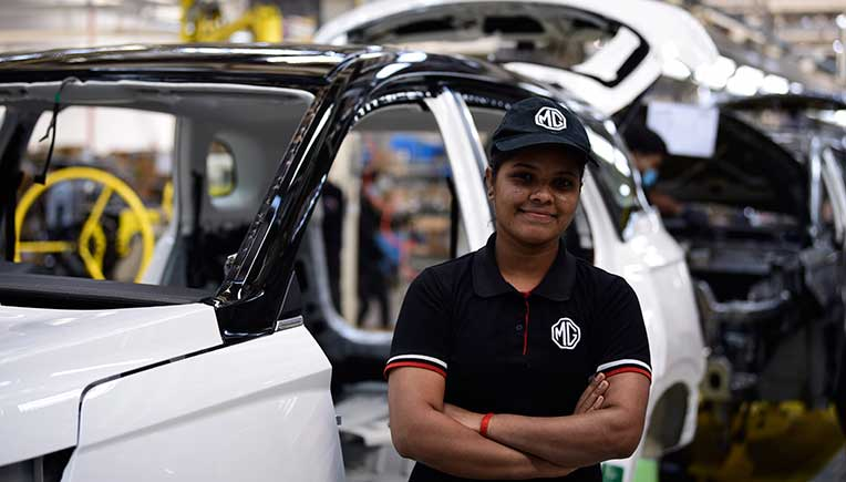An all-women crew manufactures 50,000th MG Hector in Gujarat
