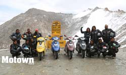12 gritty riders successfully complete tour of Ladakh on 110cc TVS Scooty Zest