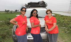 Four women in a Tata Hexa set on an epic journey