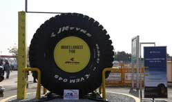 JK Tyre displays India's largest off-the-road tyre at Auto Expo 2018