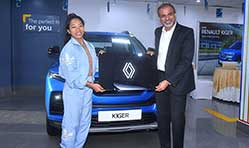 Renault Kiger presented to Tokyo Olympics 2020 Silver Medalist Mirabai Chanu