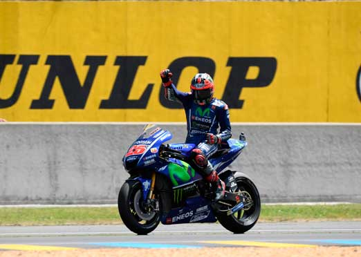 Vinales wins, while Rossi spins in thriller race in Le Mans MotoGP
