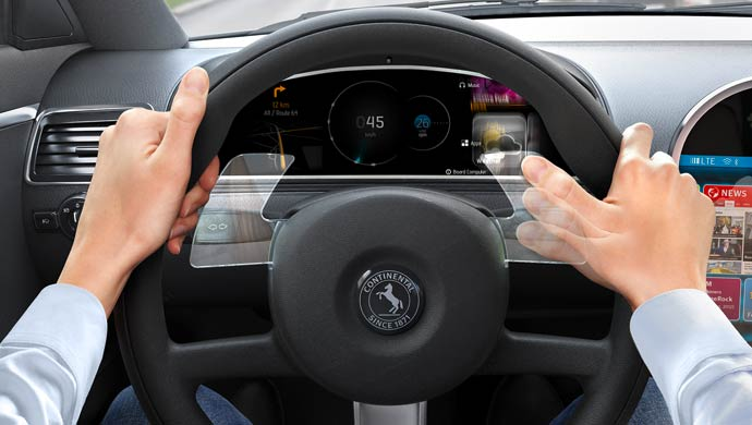Continental integrates gesture-based control into steering wheel