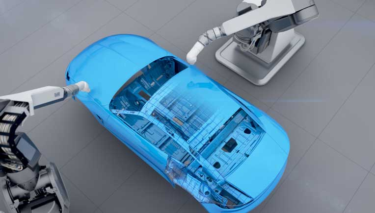 The new EcoRP E043i robot is a world first for fully automated automotive painting. While conventional painting robots works with six motion axes, the new model has a seventh axis.