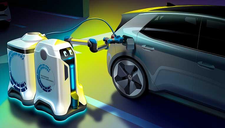 World premiere of Volkswagen charging robots in underground parkings