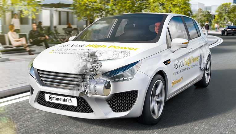 Full-hybrid vehicle with 48-volt high-power technology from Continental
