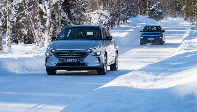 Hyundai testing its car at the Hyundai Mobis Proving Ground in Sweden