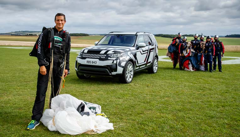 World-renowned British adventurer and well-known Land Rover owner Bear Grylls took to the skies to put the Intelligent Seat Fold technology in the all-new Discovery to test
