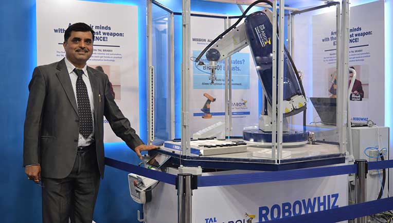 Amit Bhingurde, COO, TAL Manufacturing Solutions with the newly launched TAL Brabo Robowhiz Educart