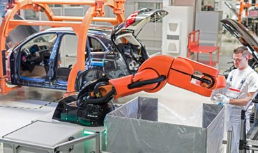 Human-robot cooperation in Audi plant in Germany