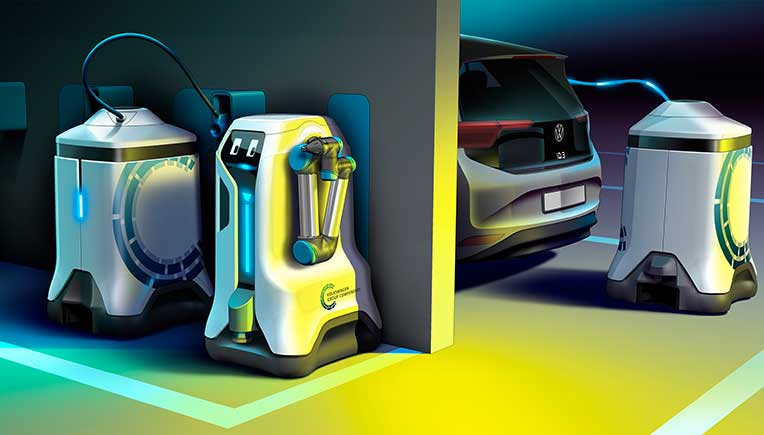World premiere of Volkswagen charging robots in underground parkings